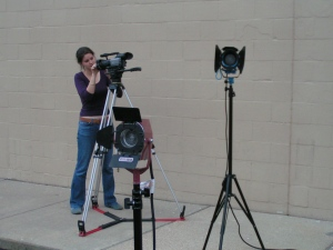 Assistant Director, Helen Beaufort, on the set of RESET