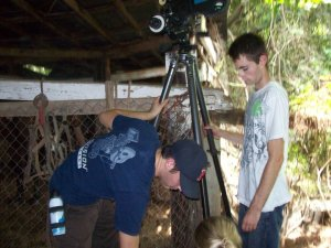 Leveling the camera for the shot of the horse.